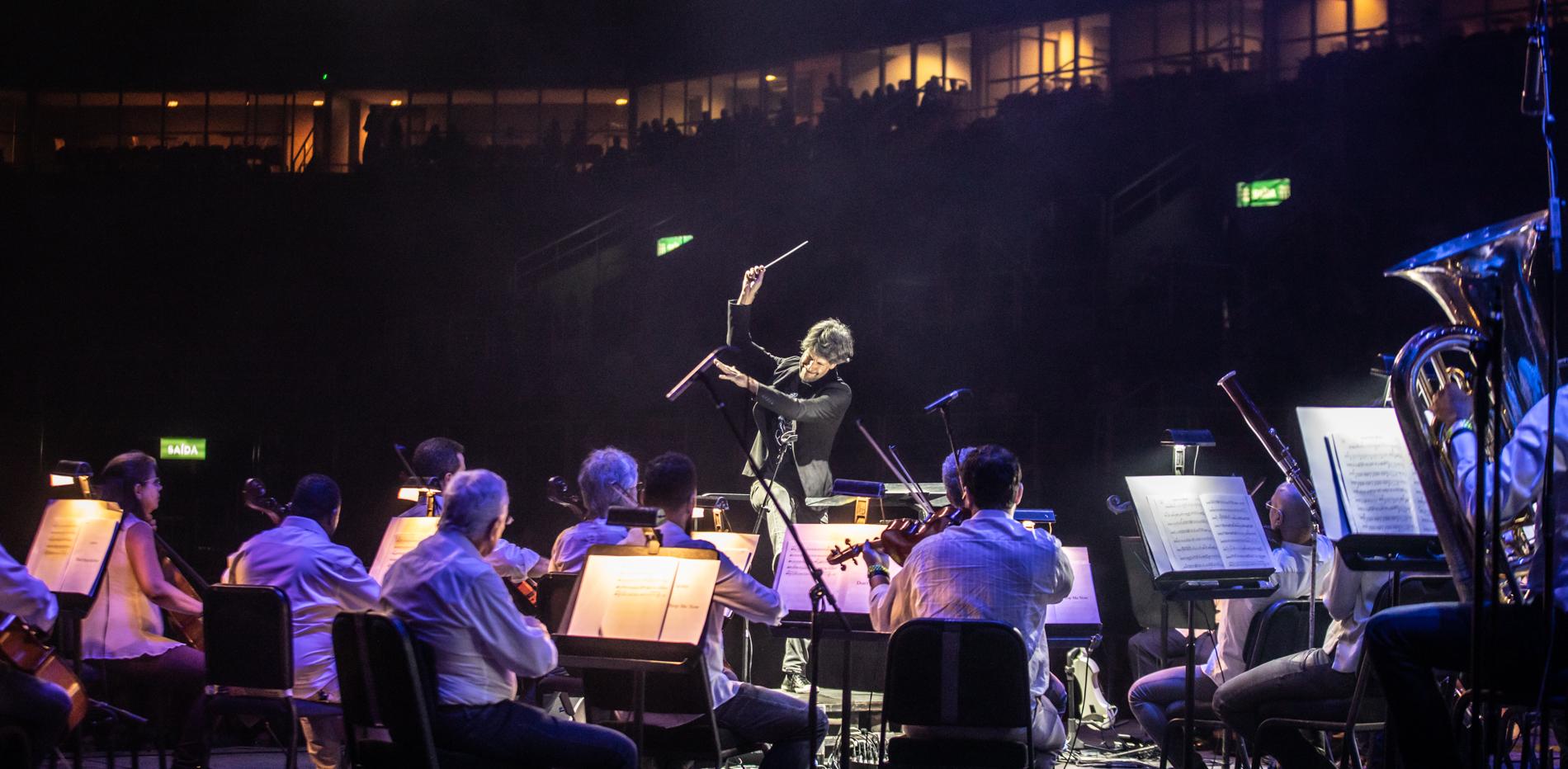 A Orquestra Petrobras Sinfônica durante uma apresentação de 2019. (Foto: Renato Mangolim/Divulgação)